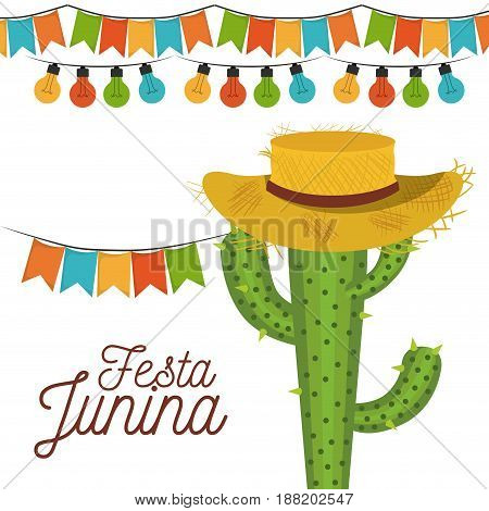 white background poster festa junina with of cactus with hat and festoons and decorative lights vector illustration