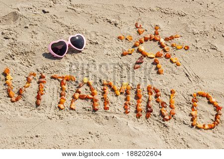 Sunglasses, Inscription Vitamin D And Shape Of Sun At Beach, Concept Of Summer Time And Healthy Life
