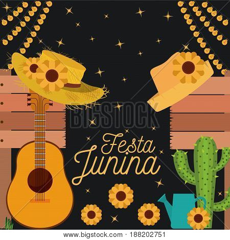 nightly background poster of festa junina with of cactus guitar and hat and sunflowers vector illustration