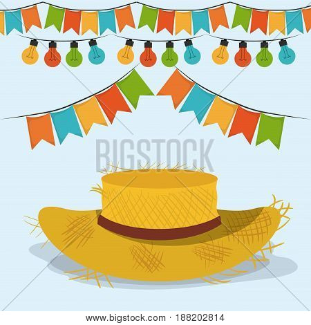 colorful poster festa junina with hat and pattern of bulb, vector illustration