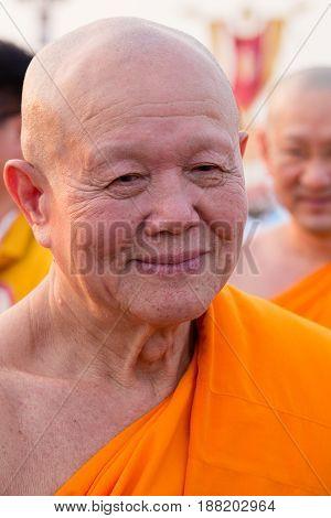 BANGKOKTHAILAND - FEBRUARY 22 2016: Venerable Dhattajeevo Bhikku Thai monk during Buddhist ceremony Magha Puja Day in Wat Phra Dhammakaya