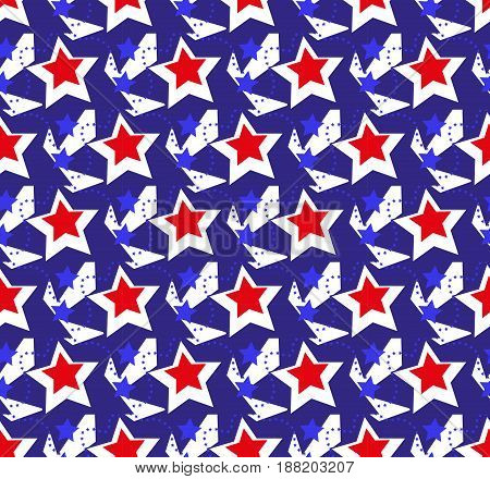 American USA flag seamless patterns. Independence Day, July 4 concept, repeating texture, endless background. Vector illustration