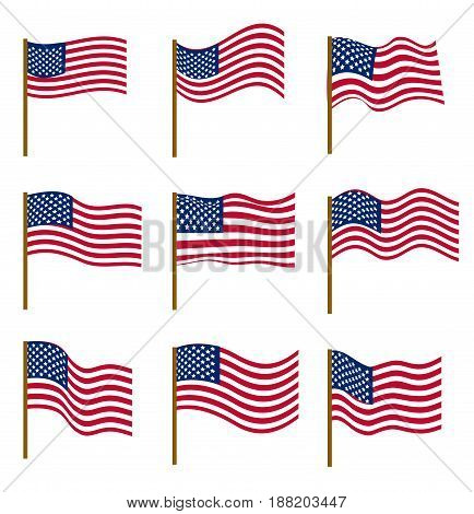 Set of flags of United States of America isolated on white background. Independence Day, July 4, concept. Vector illustration