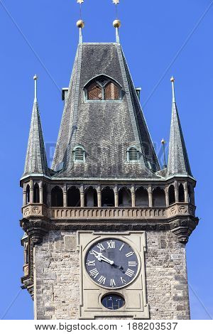 Old Town Hall clock on tower Prague Czech Republic. It is former seat of the municipal authorities of Prague located in Old Town Square.