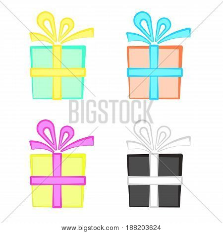 Set of cute colorful cartoon present boxes, present with bow symbol.
