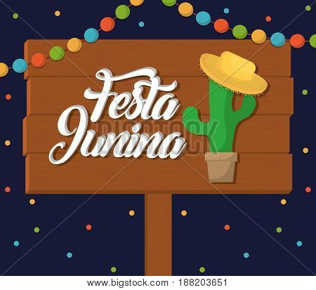 festa junina card with cactus and hat icon  over blue background. colorful design. vector illustration