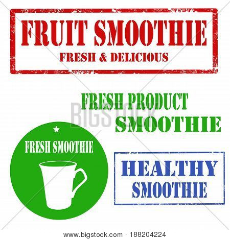 Set of stamps with text Fruit Smoothie,vector illustration