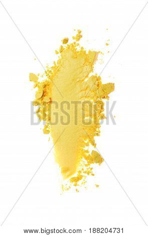 Smear Of Crushed Yellow Eyeshadow As Sample Of Cosmetic Product