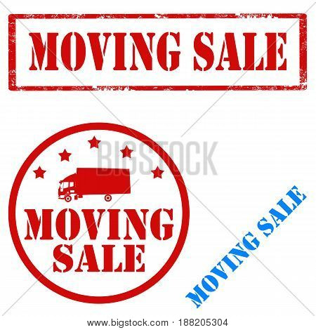 Set of stamps with text Moving Sale,vector illustration