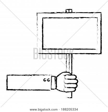 hand human with protest label vector illustration design