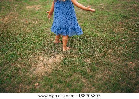 Girl walks in the woods in Montenegro