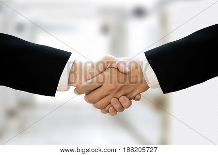 Businessman Handshake Professional Business Partnership Meeting Concept  Silhouette And Filter Sun