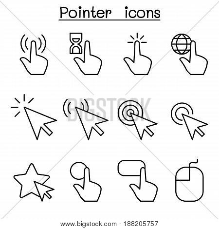 Cursor Pointer Click Arrow Finger icon set in thin line style