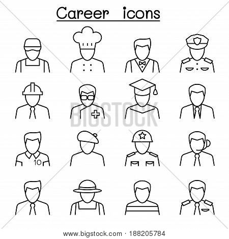 Career Profession & Occupation icon set in thin line style