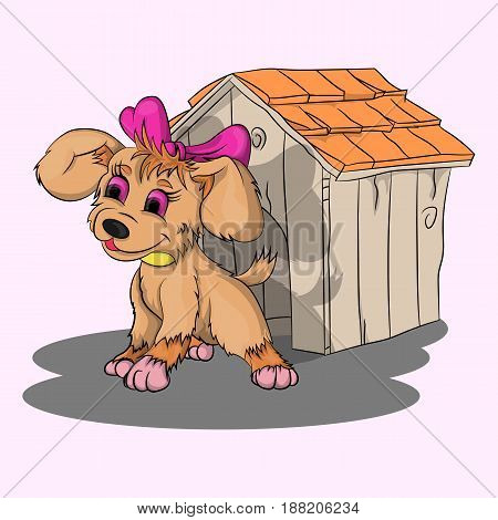 Vector illustration of a puppy girl near a dog house