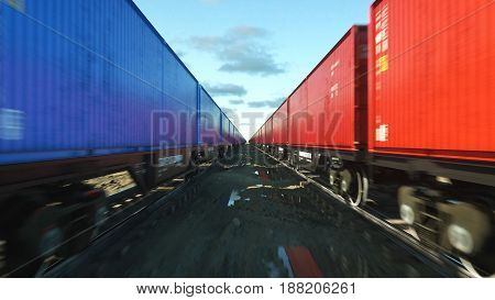 Freight train with cargo containers. Logystic concept. 3d rendering