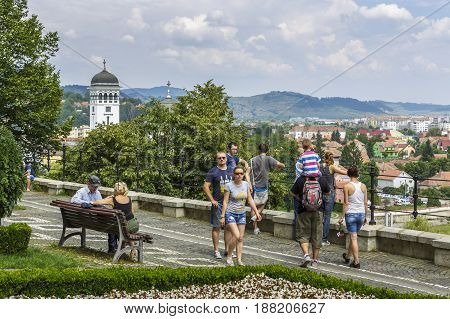 Tourists In Sighisoara Citadel, Romania
