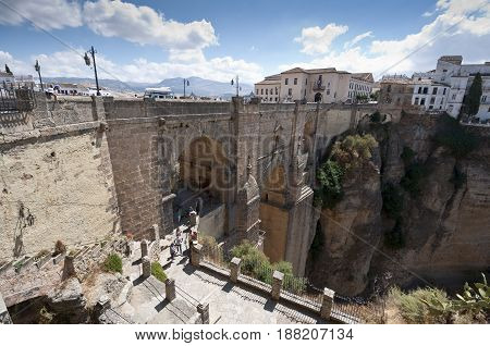 Views of the Puente Nuevo New Bridge, in Ronda village, Malaga, Andalusia, Spain. The bridge was started in 1751 and took 42 years to build