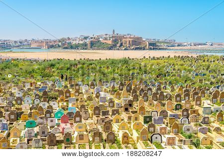 SALE,MOROCCO - APRIL 8,2017 - View at the muslim cemetery in Sale Town. Sale is a city in north-western Morocco on the right bank of the Bou Regreg river opposite the national capital Rabat.