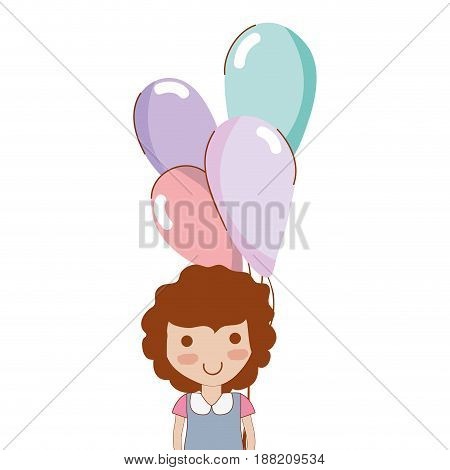 cute girl with balloons in the hand, vector illustration