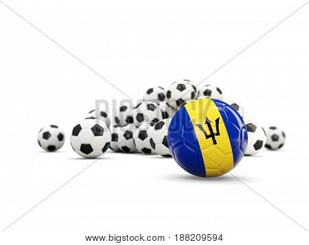 Football With Flag Of Barbados Isolated On White