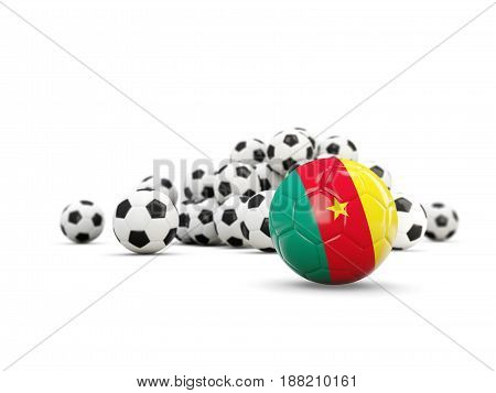 Football With Flag Of Cameroon Isolated On White