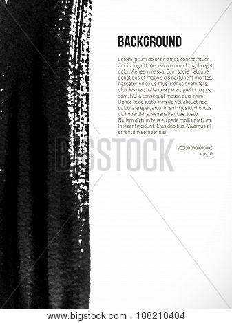 Vector grunge abstract background. Ink brush texture. Vector design elements. Dark smear background.