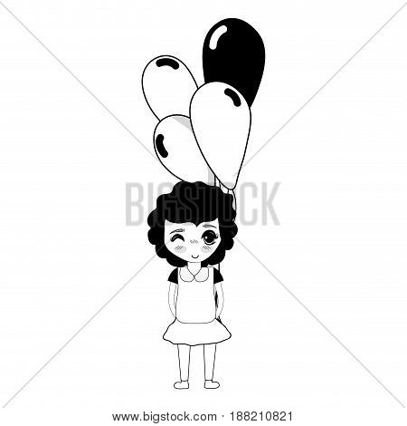 contour cute girl with balloons in the hand, vector illustration