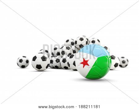 Football With Flag Of Djibouti Isolated On White