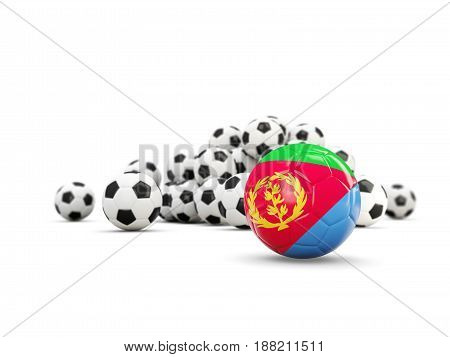 Football With Flag Of Eritrea Isolated On White