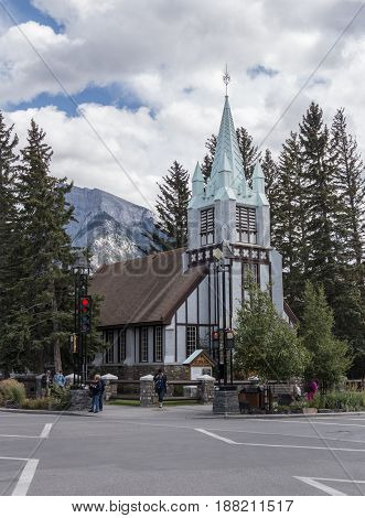 Banff Alberta/Canada - August 31 2015: A view of St. Paul's Presbyterian Church on Banff Avenue in Banff Alberta.