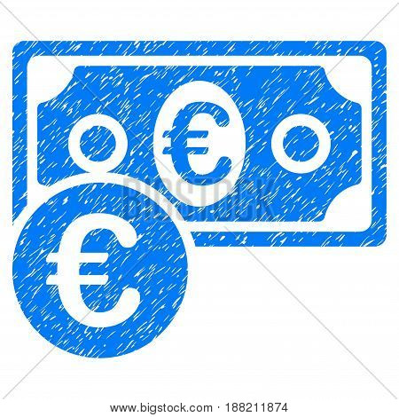 Grunge Euro Cash Money icon with grunge design and dirty texture. Unclean vector blue pictogram for rubber seal stamp imitations and watermarks. Draft sticker symbol.