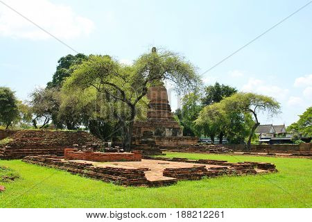 Wat Ratchaburana the ruin of a Buddhist temple in the Ayutthaya historical park Thailand