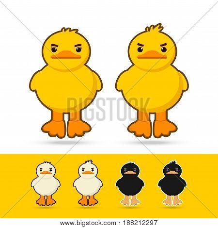 couple cute cartoon yellow duckwhite duck black duck on white background vector illustration