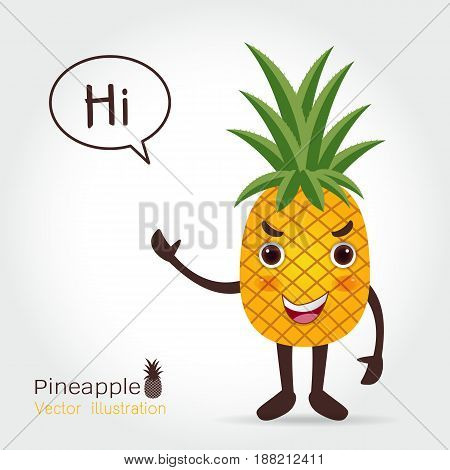 Pineapple vector icon cartoon style isolated on white background. Pineapple fruit food vector flat style