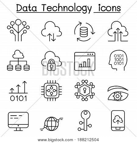 Data Technology Database Cloud Computing Server Computer network icon set in thin line style