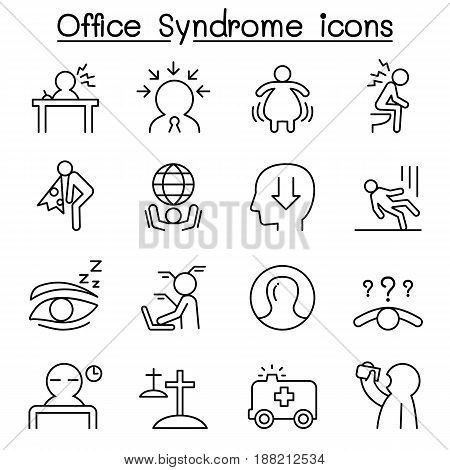 Office syndrome Staff health care icon set in thin line style