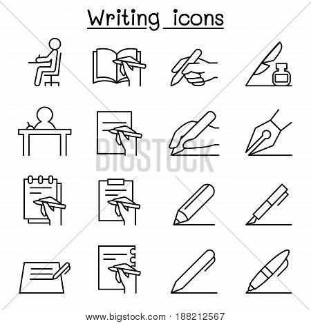 Writing icon set in thin line style
