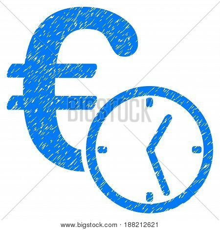 Grunge Euro Credit icon with grunge design and dirty texture. Unclean vector blue pictogram for rubber seal stamp imitations and watermarks. Draft sticker symbol.