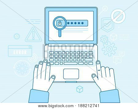 Vector Illustration In Modern Flat Linear Style And Blue Colors - Hacker Stealing Password Data