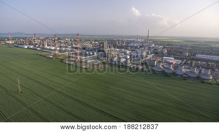 oil factory areal panoramic view day time