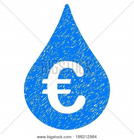 Grunge Euro Fuel Drop icon with grunge design and dust texture. Unclean vector blue pictogram for rubber seal stamp imitations and watermarks. Draft emblem symbol.