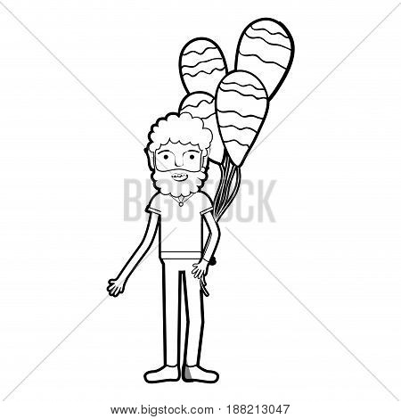 line man with beard and balloons in the hand, vector illustration