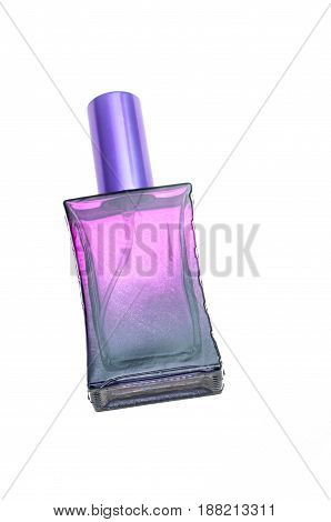 violet men's cologne isolated on white background