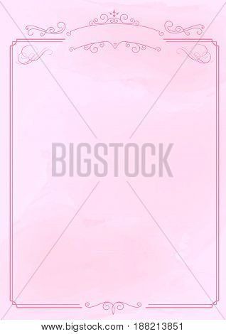 Ornamental Retro Border And Pink Ink Brush Paper Background