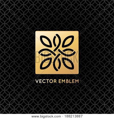 Vector Logo Design Template And Emblem With Leaves And Lines
