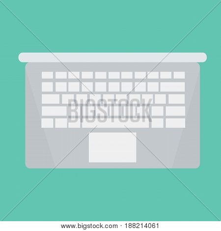 Laptop gray with blank screen isolated on a green background laptop new technology black laptop laptop vector