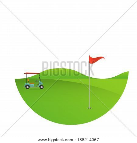 Background of golf field beautiful landscapeGolf hole banner vector green tree background illustration with golf cart flag and trees