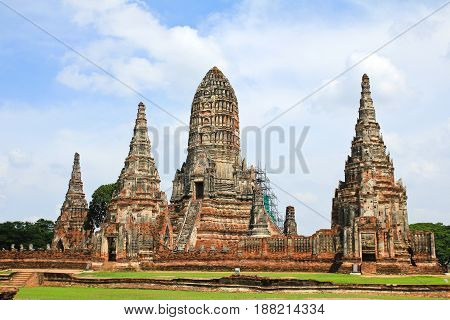 Wat Chaiwatthanaram is ancient buddhist temple famous and major tourist attraction religious of Ayutthaya Historical Park in Phra Nakhon Si Ayutthaya Province Thailand