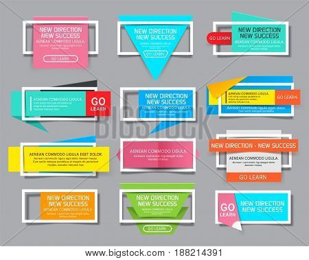 Set of Website Banner with white frame. Vector illustration. Social media templates and ads web banner.
